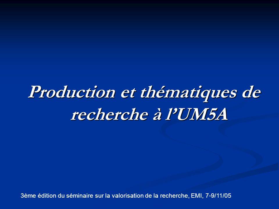 Production et thématiques de recherche à l'UM5A