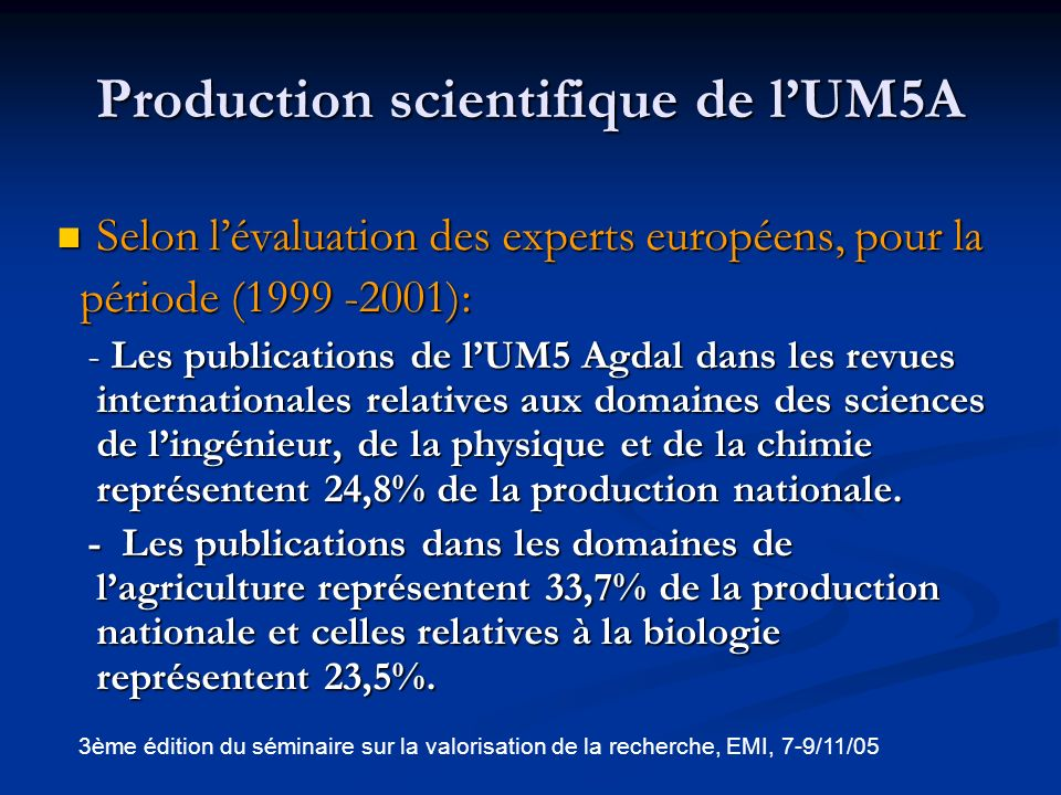 Production scientifique de l'UM5A