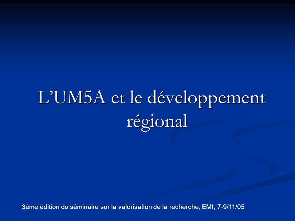 L'UM5A et le développement régional