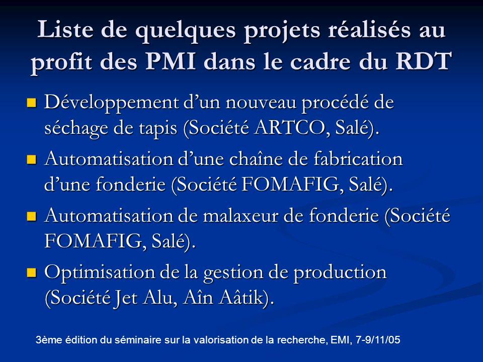 Liste de quelques projets réalisés au profit des PMI dans le cadre du RDT