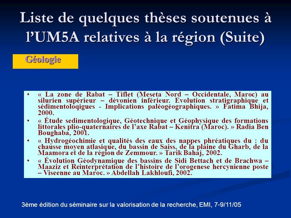 Liste de quelques thèses soutenues à l'UM5A relatives à la région (Suite)