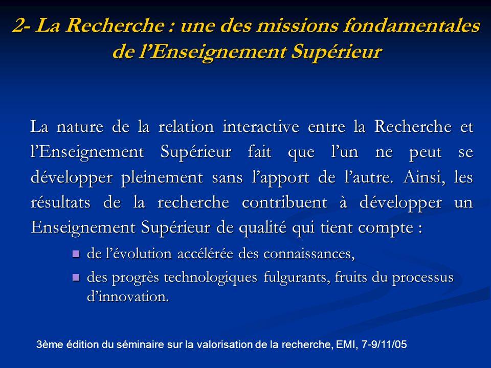 2- La Recherche : une des missions fondamentales de l'Enseignement Supérieur
