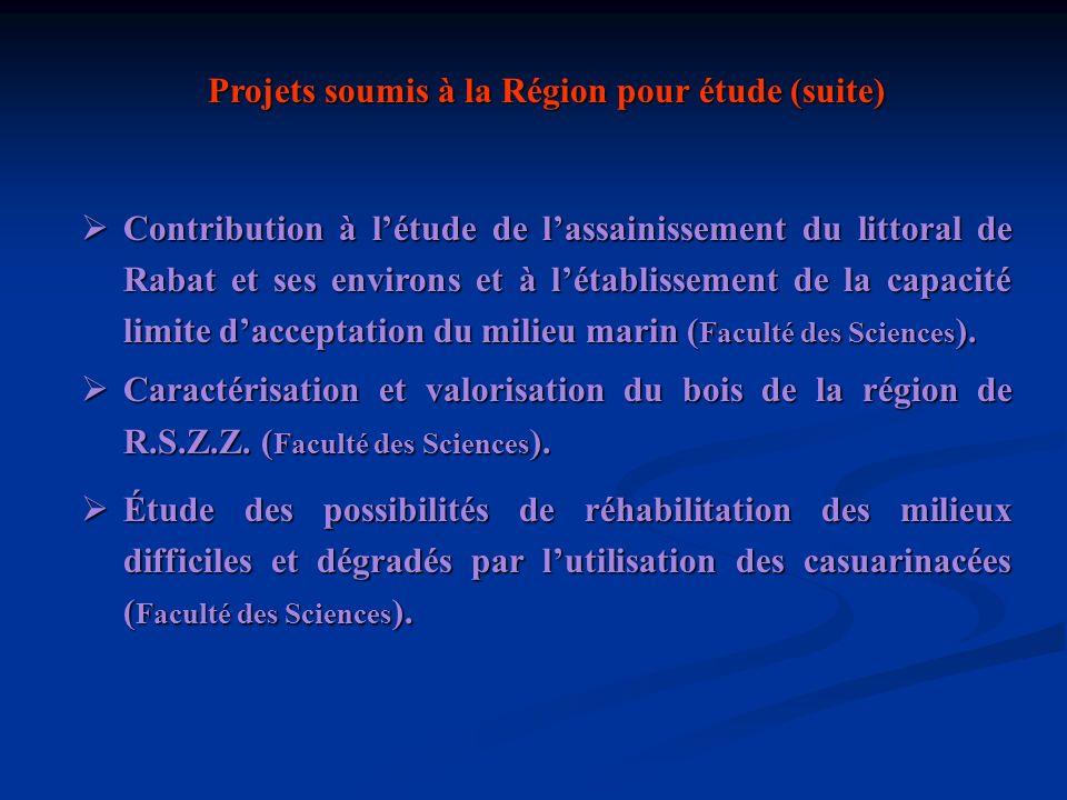 Projets soumis à la Région pour étude (suite)