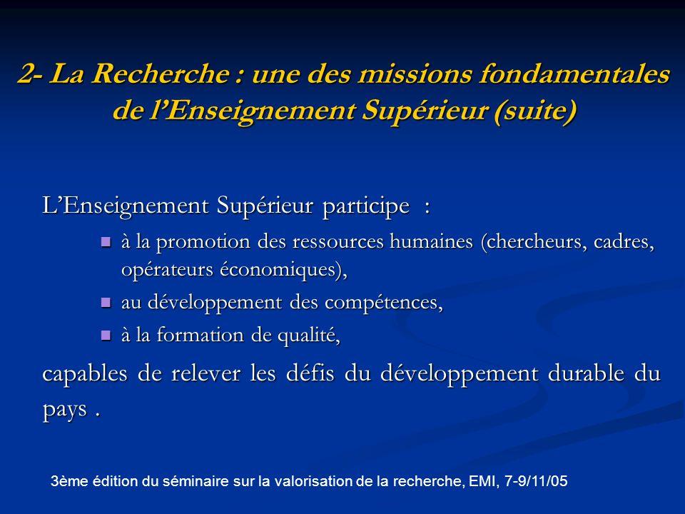 2- La Recherche : une des missions fondamentales de l'Enseignement Supérieur (suite)