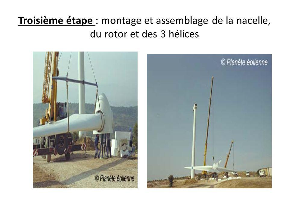 Troisième étape : montage et assemblage de la nacelle, du rotor et des 3 hélices