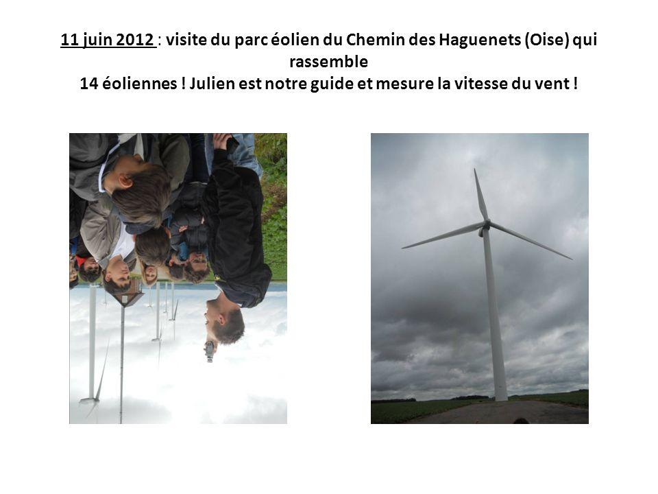 11 juin 2012 : visite du parc éolien du Chemin des Haguenets (Oise) qui rassemble 14 éoliennes .