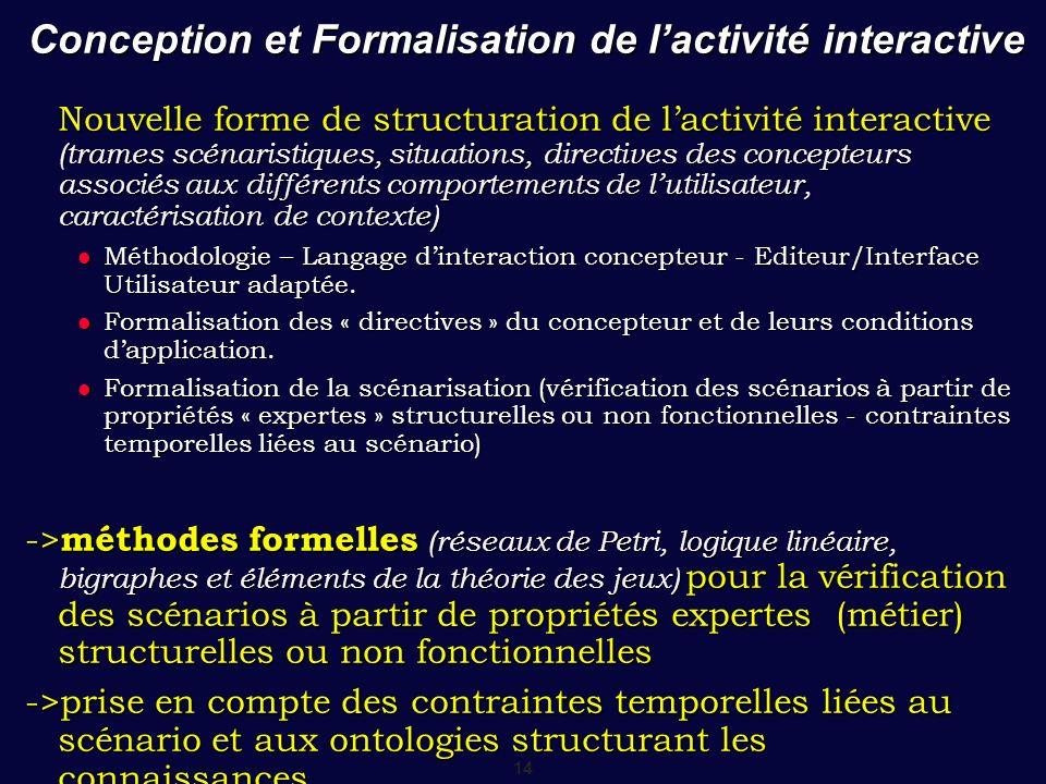 Conception et Formalisation de l'activité interactive