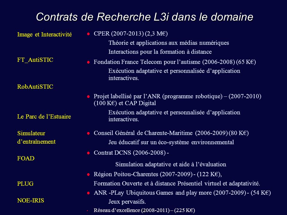 Contrats de Recherche L3i dans le domaine