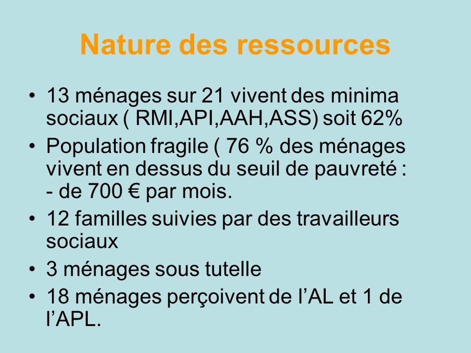 Nature des ressources 13 ménages sur 21 vivent des minima sociaux ( RMI,API,AAH,ASS) soit 62%