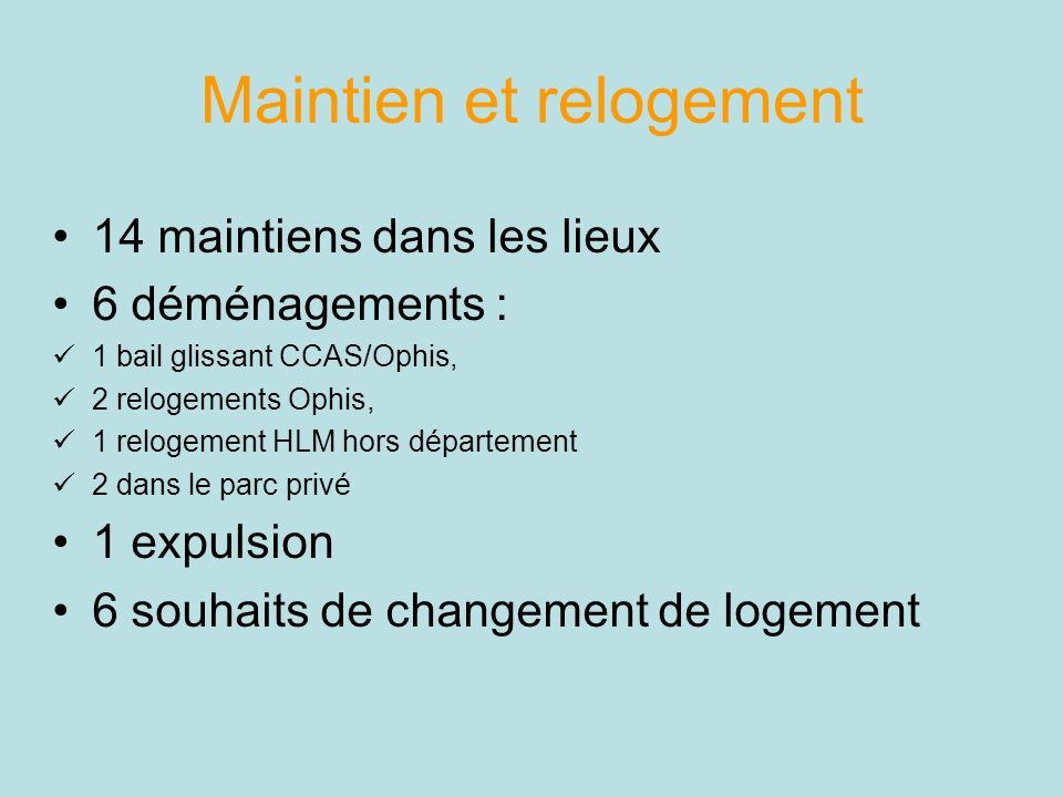 Maintien et relogement