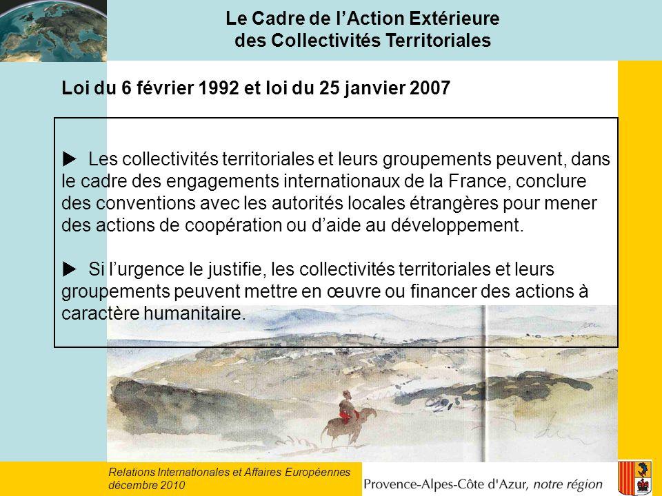 Le Cadre de l'Action Extérieure des Collectivités Territoriales