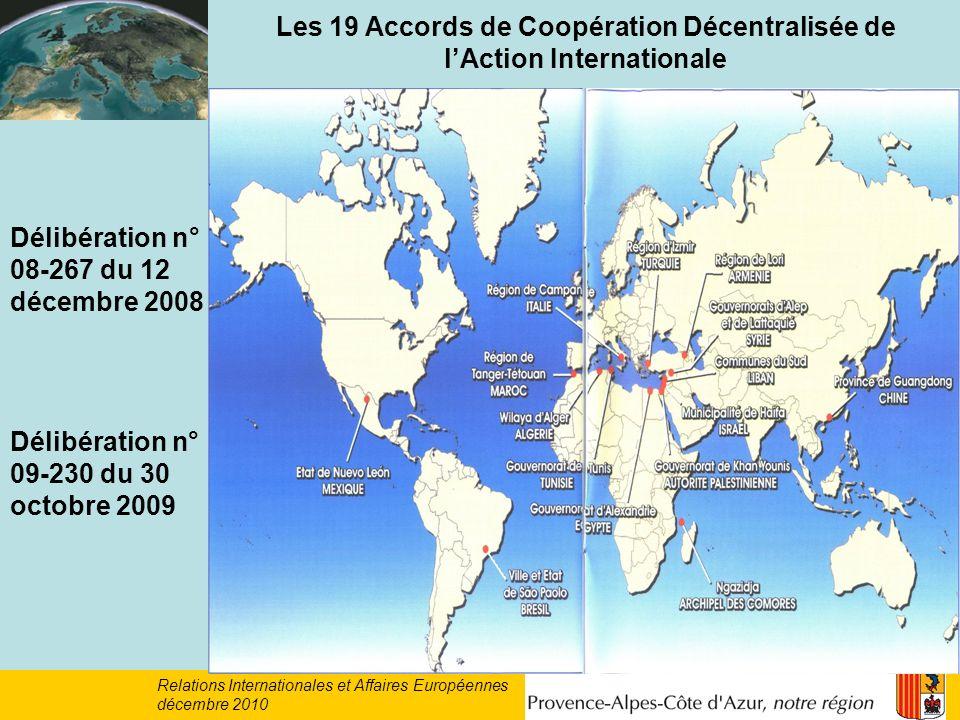 Les 19 Accords de Coopération Décentralisée de l'Action Internationale