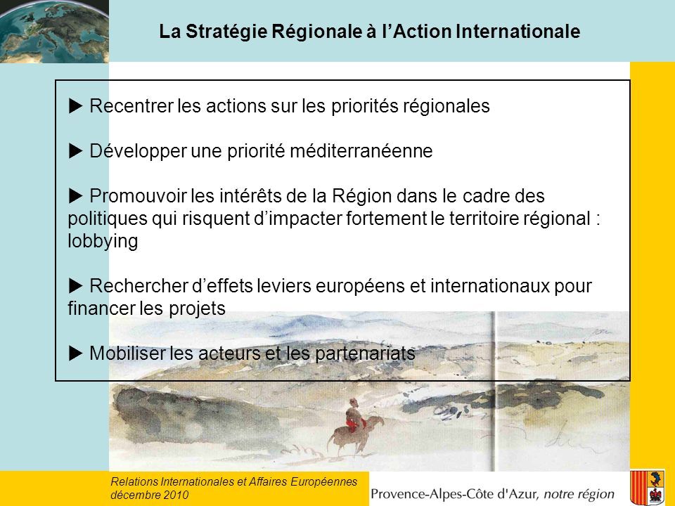 La Stratégie Régionale à l'Action Internationale