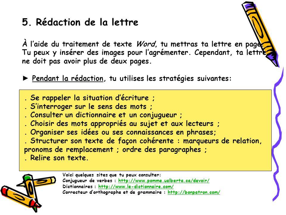 5. Rédaction de la lettre