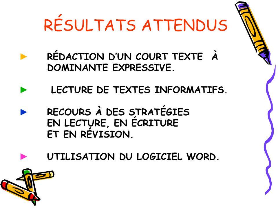 RÉSULTATS ATTENDUS ► RÉDACTION D'UN COURT TEXTE À DOMINANTE EXPRESSIVE. ► LECTURE DE TEXTES INFORMATIFS.
