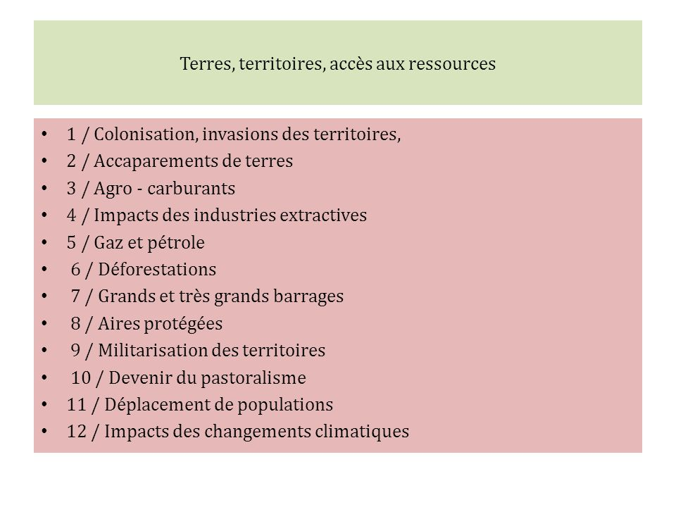 Terres, territoires, accès aux ressources