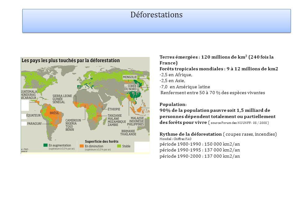 Déforestations Terres émergées : 120 millions de km2 (240 fois la France) Forêts tropicales mondiales : 9 à 12 millions de km2.