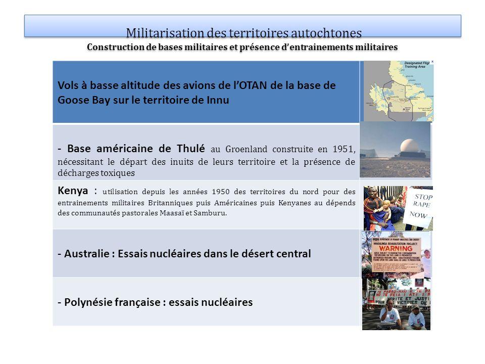 Militarisation des territoires autochtones Construction de bases militaires et présence d'entrainements militaires