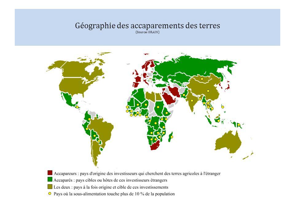 Géographie des accaparements des terres (Source: GRAIN)