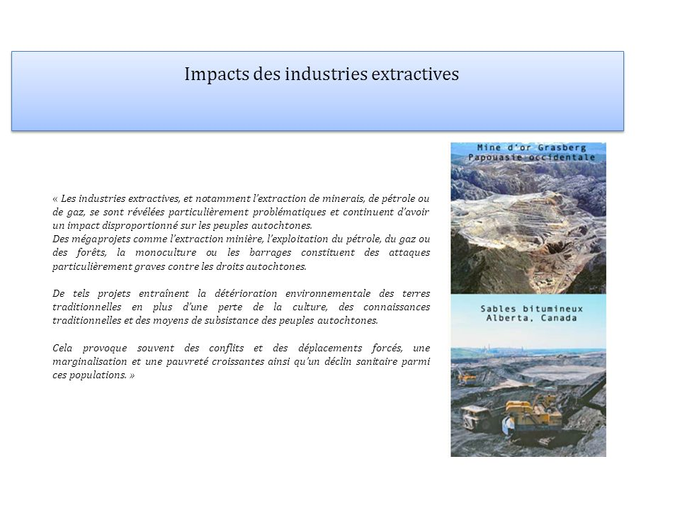 Impacts des industries extractives
