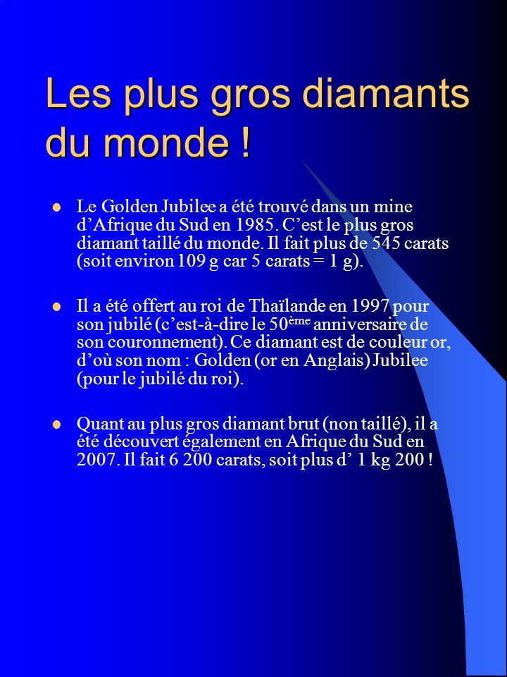 Les plus gros diamants du monde !