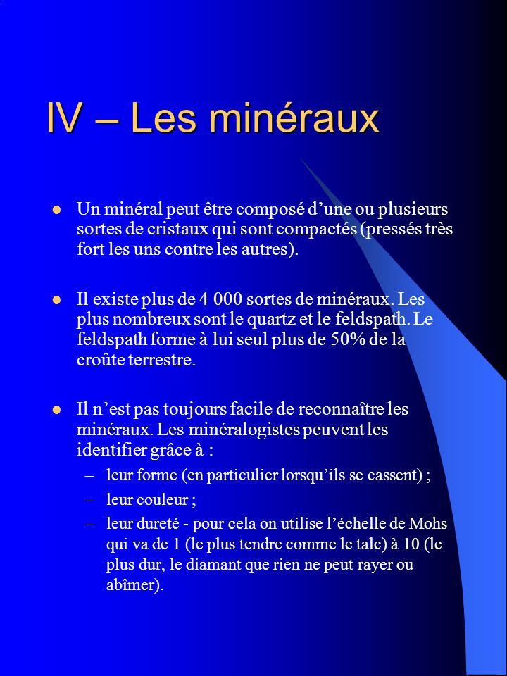 IV – Les minéraux
