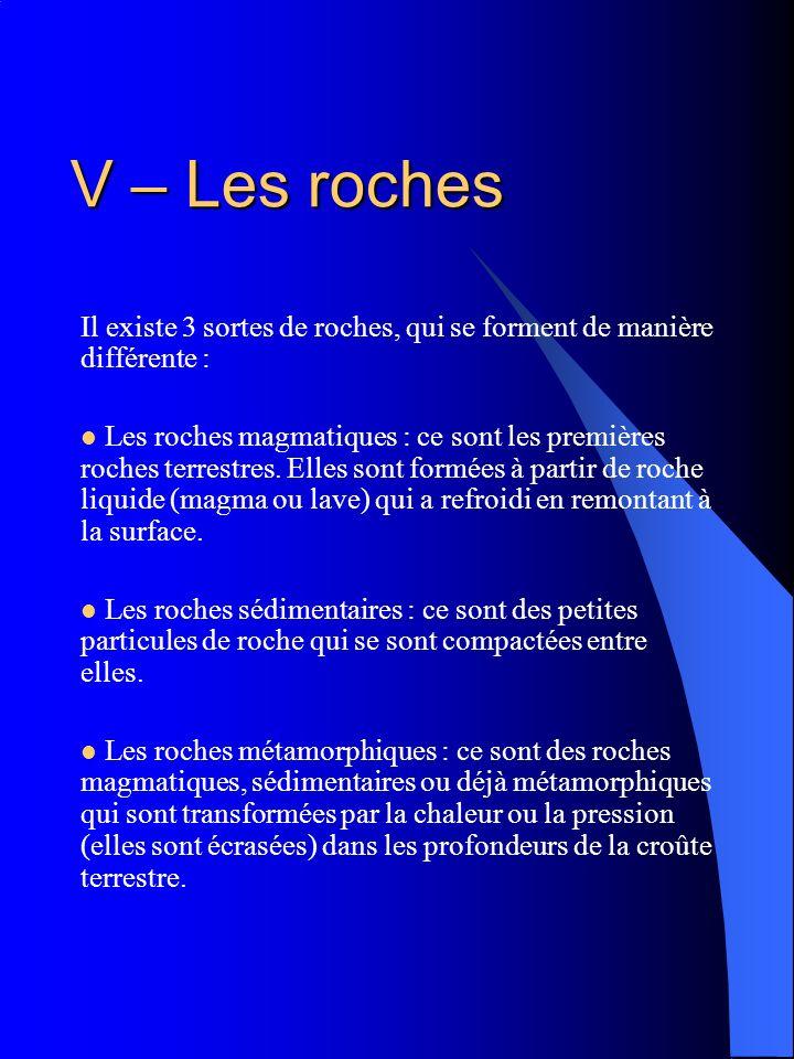 V – Les rochesIl existe 3 sortes de roches, qui se forment de manière différente :