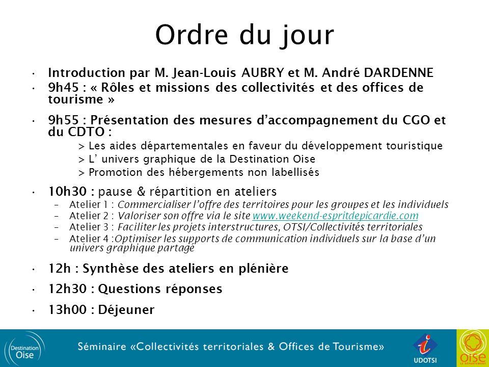 Ordre du jour Introduction par M. Jean-Louis AUBRY et M. André DARDENNE. 9h45 : « Rôles et missions des collectivités et des offices de tourisme »