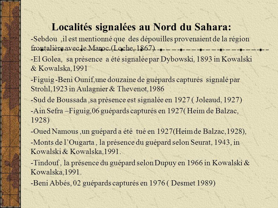 Localités signalées au Nord du Sahara: