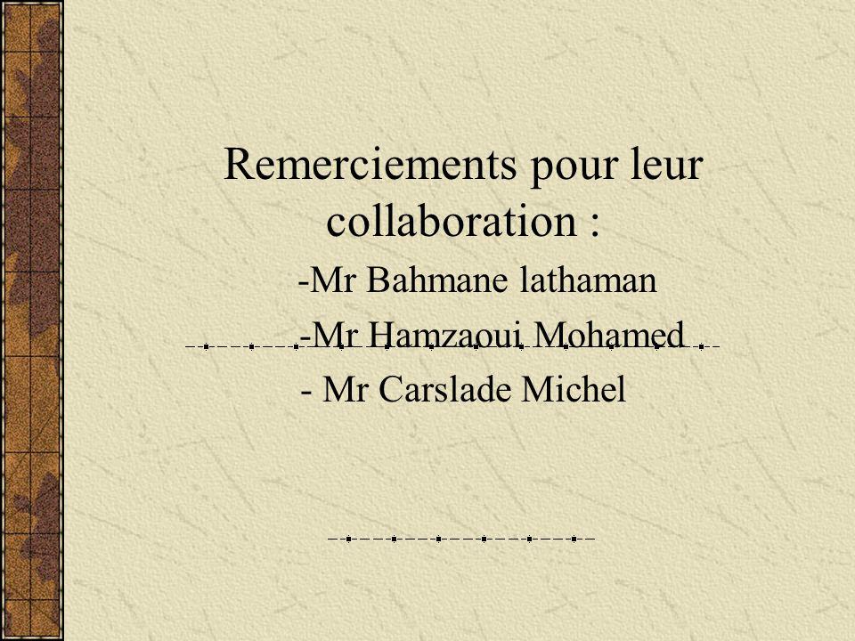 Remerciements pour leur collaboration :
