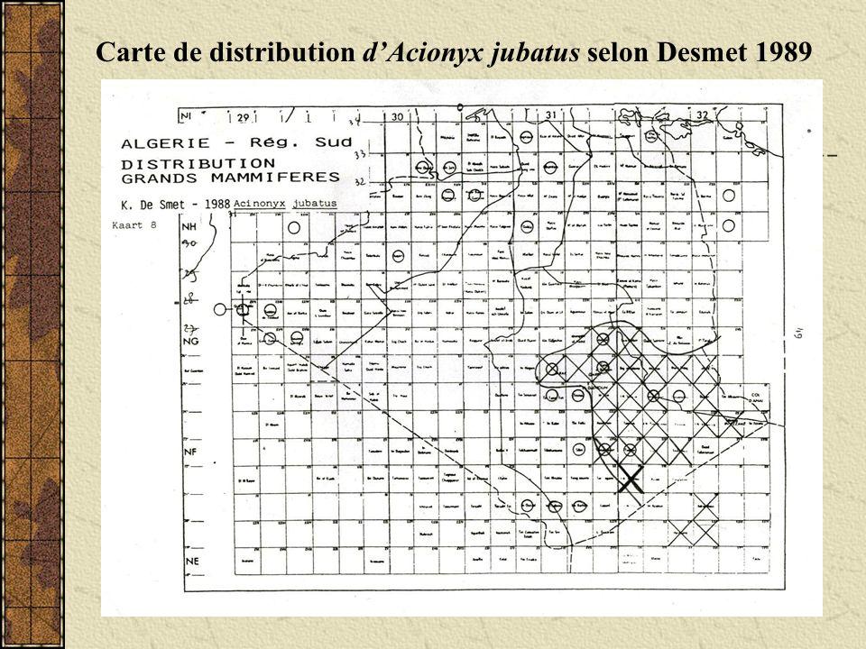 Carte de distribution d'Acionyx jubatus selon Desmet 1989