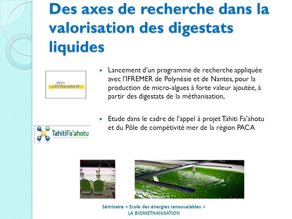 Des axes de recherche dans la valorisation des digestats liquides
