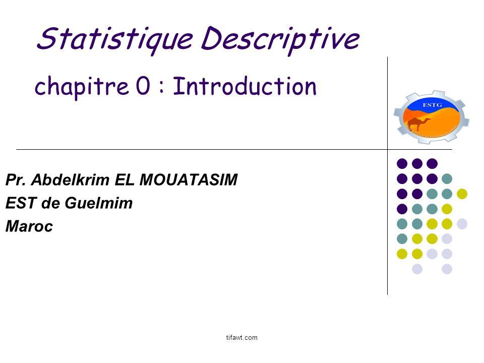 Statistique Descriptive chapitre 0 : Introduction