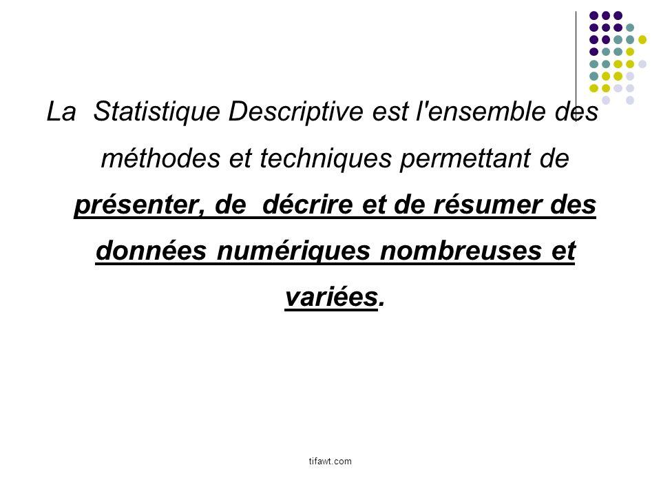 La Statistique Descriptive est l ensemble des méthodes et techniques permettant de présenter, de décrire et de résumer des données numériques nombreuses et variées.