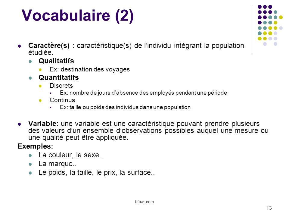 Vocabulaire (2) Caractère(s) : caractéristique(s) de l'individu intégrant la population étudiée. Qualitatifs.