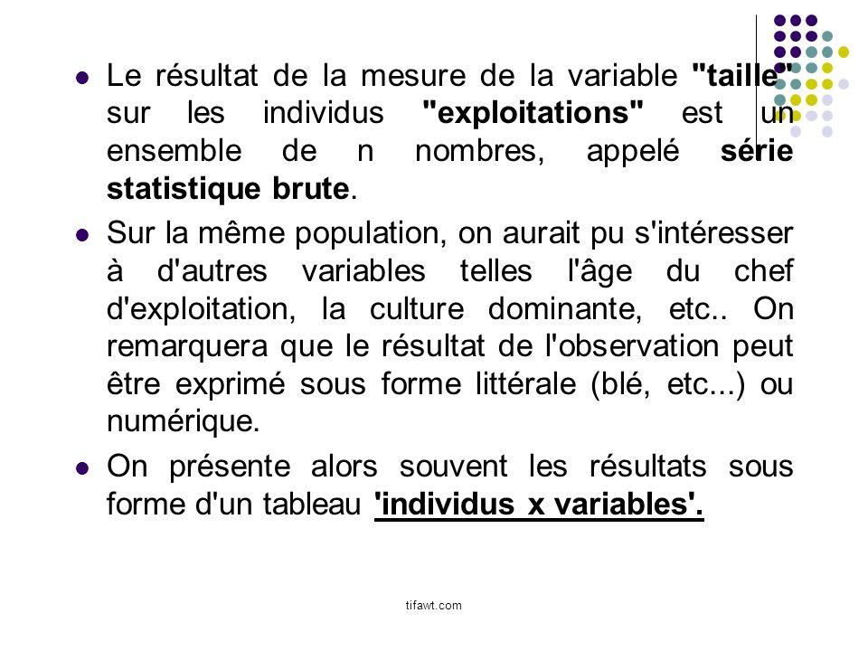 Le résultat de la mesure de la variable taille sur les individus exploitations est un ensemble de n nombres, appelé série statistique brute.