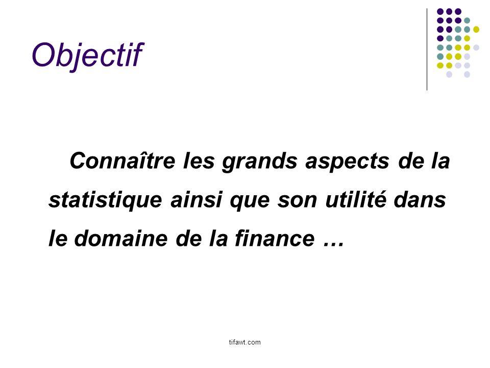 Objectif Connaître les grands aspects de la statistique ainsi que son utilité dans le domaine de la finance …