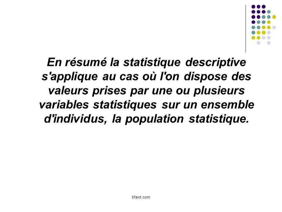 En résumé la statistique descriptive s applique au cas où l on dispose des valeurs prises par une ou plusieurs variables statistiques sur un ensemble d individus, la population statistique.