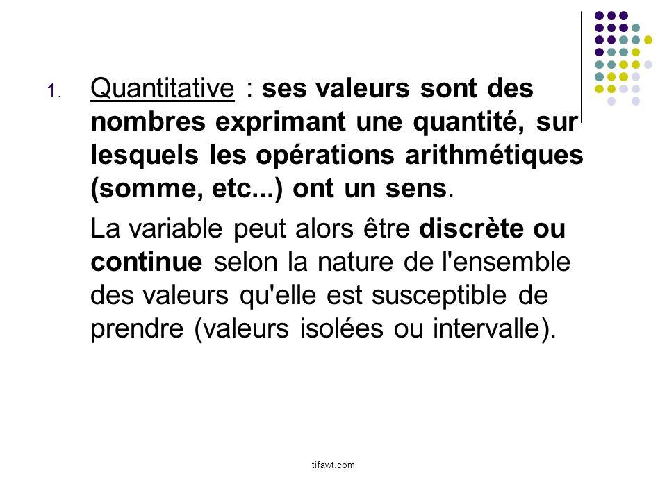 Quantitative : ses valeurs sont des nombres exprimant une quantité, sur lesquels les opérations arithmétiques (somme, etc...) ont un sens.