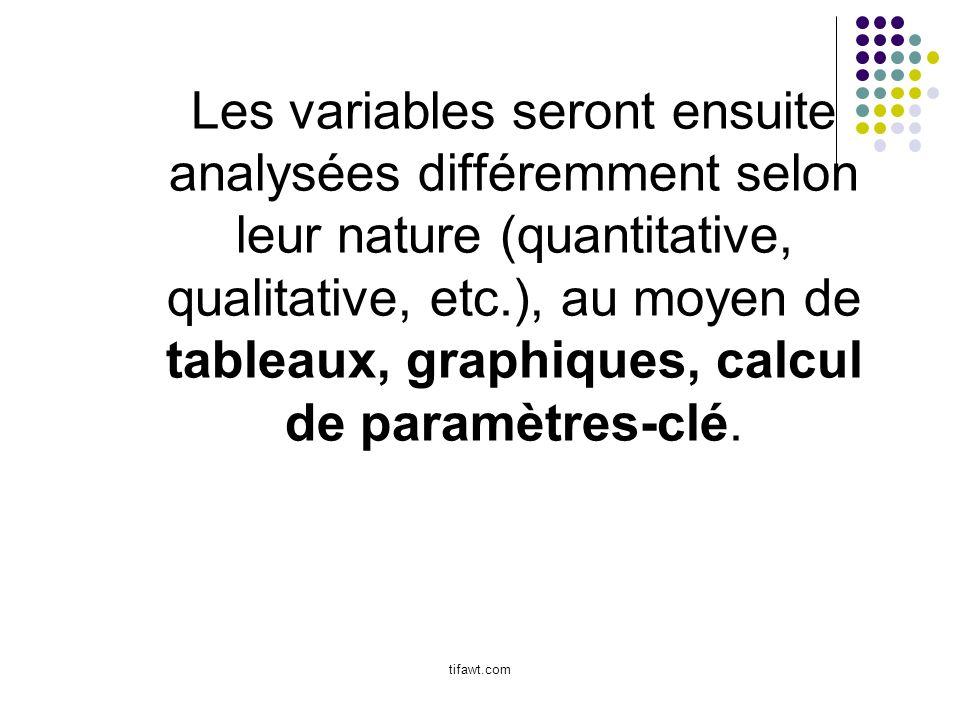 Les variables seront ensuite analysées différemment selon leur nature (quantitative, qualitative, etc.), au moyen de tableaux, graphiques, calcul de paramètres-clé.