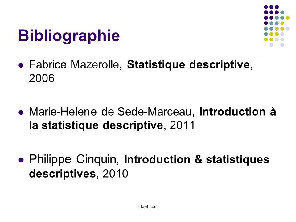 Bibliographie Fabrice Mazerolle, Statistique descriptive, 2006. Marie-Helene de Sede-Marceau, Introduction à la statistique descriptive, 2011.