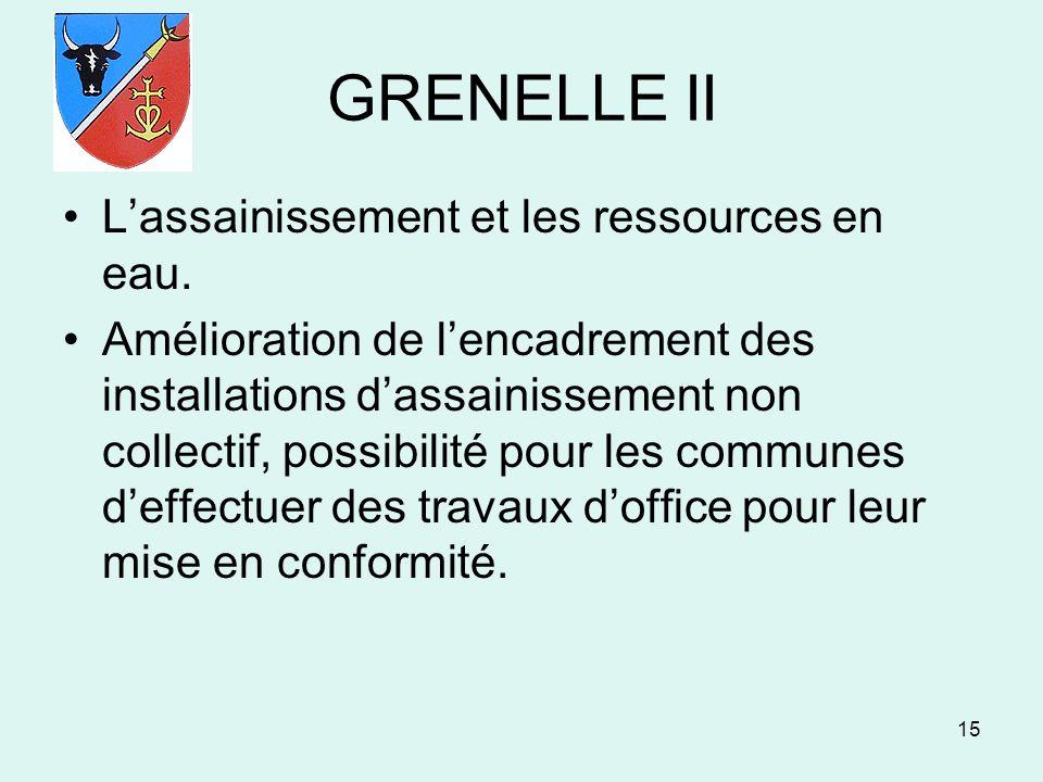 GRENELLE II L'assainissement et les ressources en eau.