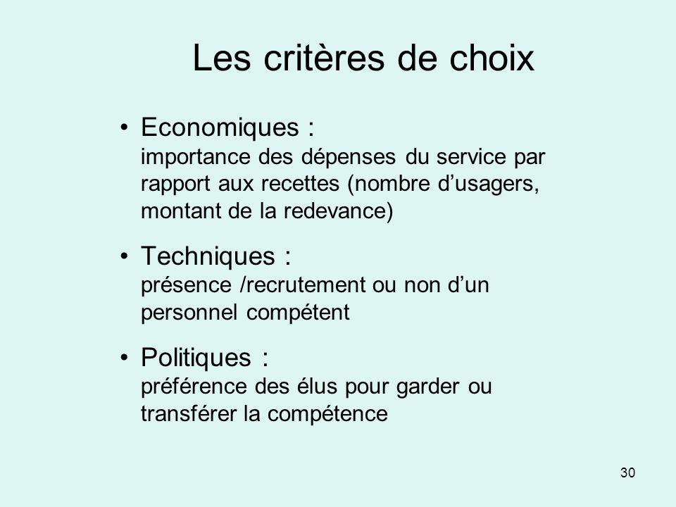 Les critères de choix Economiques : importance des dépenses du service par rapport aux recettes (nombre d'usagers, montant de la redevance)