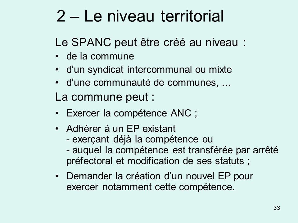 2 – Le niveau territorial