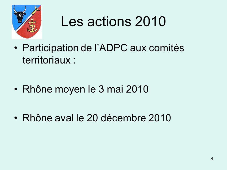 Les actions 2010 Participation de l'ADPC aux comités territoriaux :