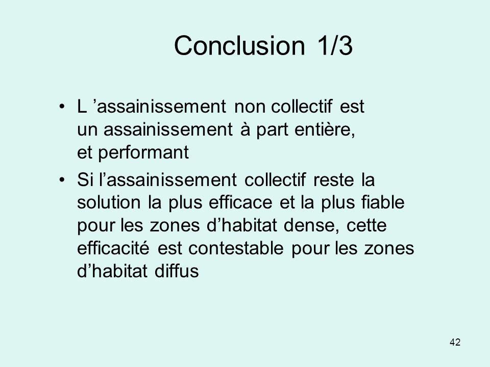 Conclusion 1/3 L 'assainissement non collectif est un assainissement à part entière, et performant.
