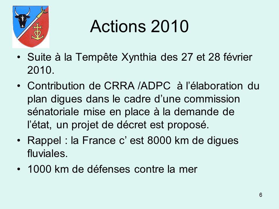 Actions 2010 Suite à la Tempête Xynthia des 27 et 28 février 2010.