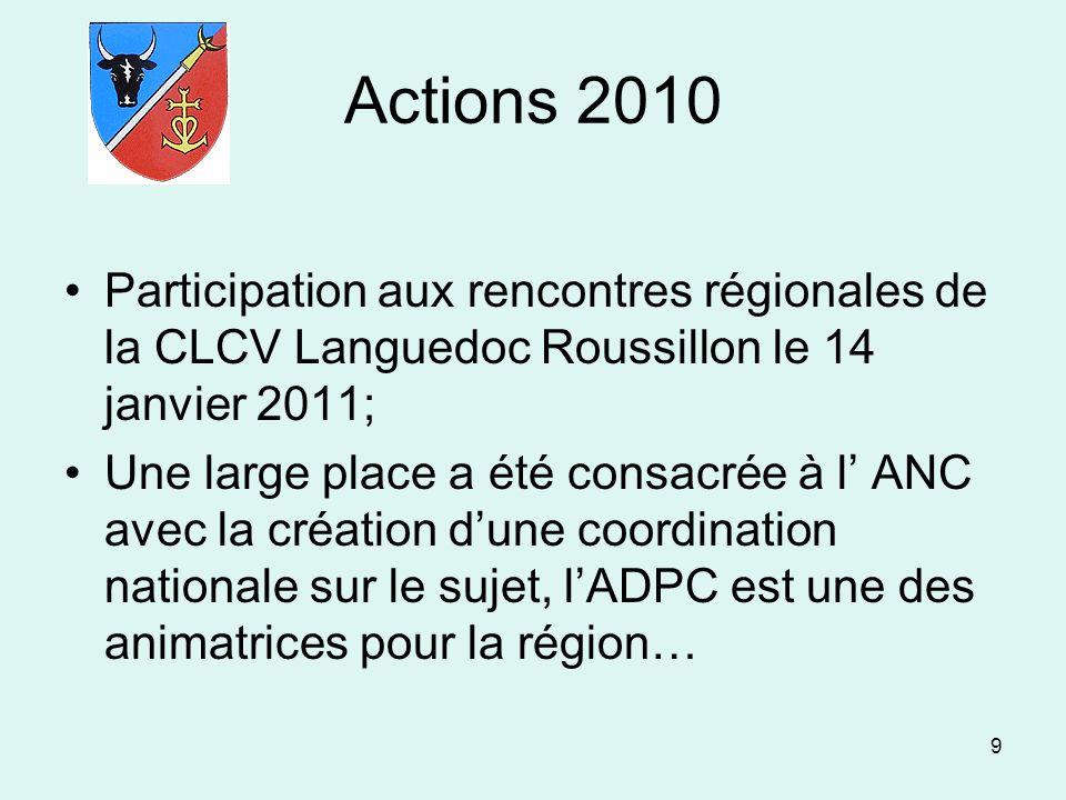 Actions 2010 Participation aux rencontres régionales de la CLCV Languedoc Roussillon le 14 janvier 2011;