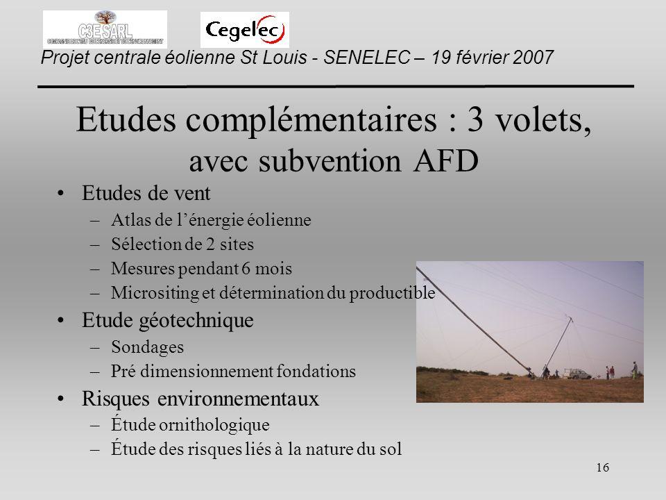 Etudes complémentaires : 3 volets, avec subvention AFD