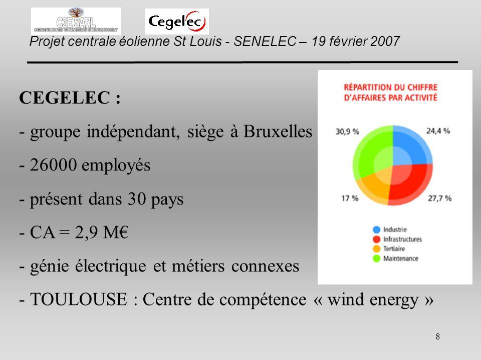 CEGELEC : groupe indépendant, siège à Bruxelles. 26000 employés. présent dans 30 pays. CA = 2,9 M€